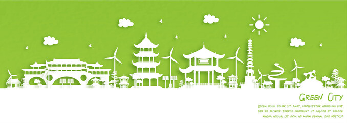 Fototapete - Green city of Chengdu, China. Environment and ecology concept. Vector illustration.