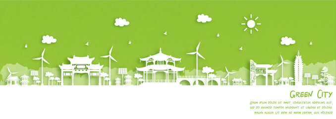 Fototapete - Green city of Kunming, China. Environment and ecology concept. Vector illustration.