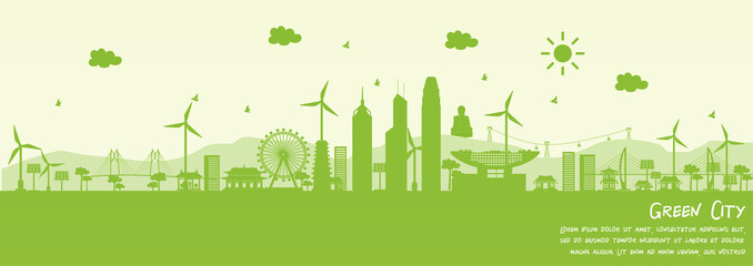 Fototapete - Green city of Hong Kong, China. Environment and ecology concept. Vector illustration.