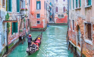 Garden Poster Venice Venetian gondolier punting gondola through green canal waters of Venice Italy