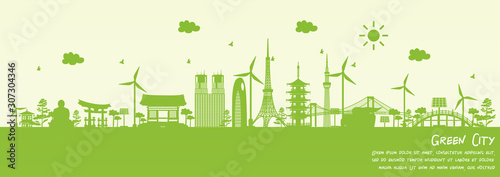 Fototapete Green city of Tokyo, Japan. Environment and ecology concept. Vector illustration.