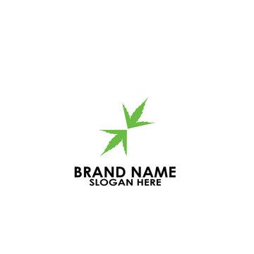logo leaf arrow modern simple icon design