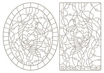 Set contour illustrations of stained glass with carp koi fishes, dark outlines on white background
