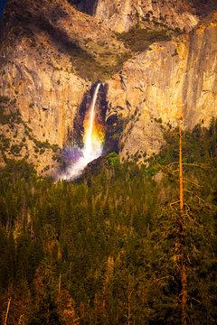 Rainbow over Bridalveiil Falls in Yosemite National Park