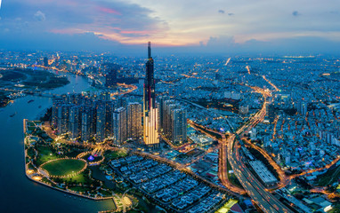 Aerial cityscape of Saigon at beautiful nightfall sky in evening