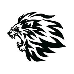 Fototapeta Angry Lion Head Roaring Logo Template. Vector Line Art Illustration