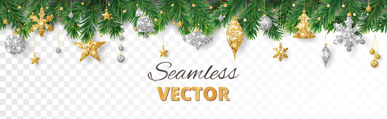 Wall Mural - Vector Christmas decoration. Christmas tree border, frame with golden ornaments.