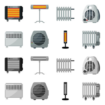 Vector illustration of household and appliances logo. Set of household and appliance stock vector illustration.