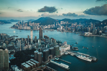 Aerial view  of the Hong Kong city