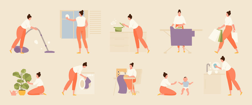 Woman housewife does various housework. Vector set illustration
