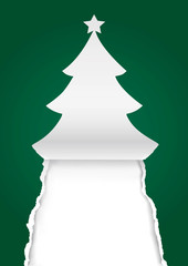 Paper christmas tree, greeting card green background.  Illustration of paper spruce torn paper silhouette. Place for your text or image. Vector available.
