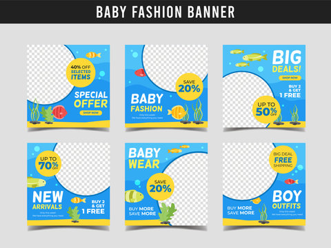 Baby fashion sale square banner template with sea animal illustration. Promotional banner for social media post, web banner and flyer