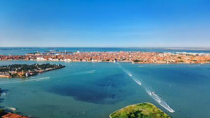 Venetian lagoon and cityscape of Venice city aerial drone view from above, Italy