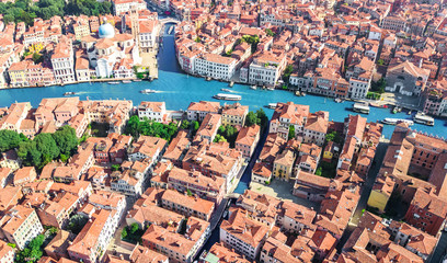 Venice city Grand Canal and houses aerial drone view, Venice island cityscape and Venetian lagoon...