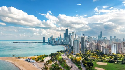 Chicago skyline aerial drone view from above, lake Michigan and city of Chicago downtown skyscrapers cityscape bird's view from Lincoln park, Illinois, USA