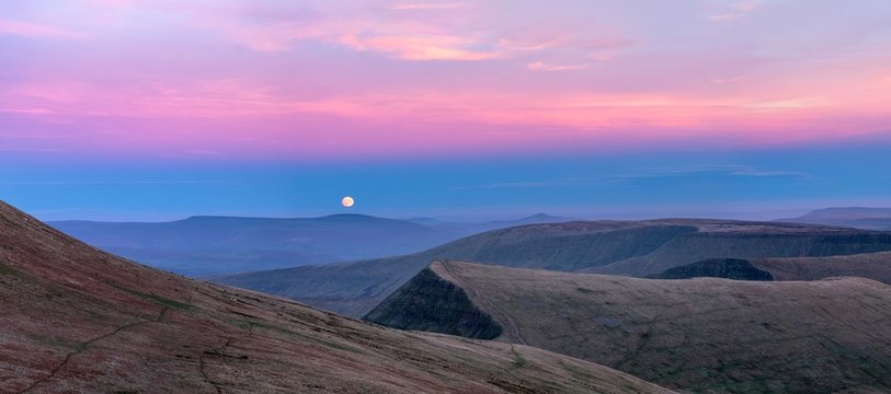 Moonrise over Brecon Beacons, Wales