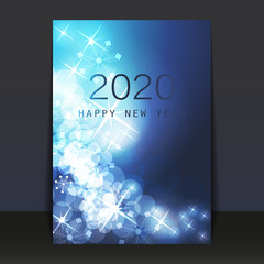 Ice Cold Blue Patterned Shimmering New Year Card, Flyer or Cover Design - 2020