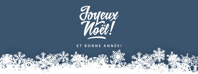 Joyeux Noel - Merry Christmas in french language blue flat card template with decorative design elements, snowflakes Fotomurales
