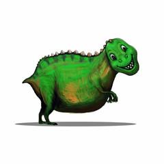 Hand Drawn Cartoon Dinosaur Tyrannosaurus Rex. T-Rex Smile. Vector