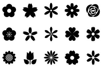 白黒の花のアイコンセット