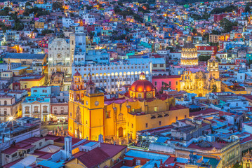 Aerial view of guanajuato with cathedral in mexico