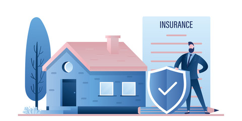 Cottage or single house and man with insurance paper contract and safe shield.