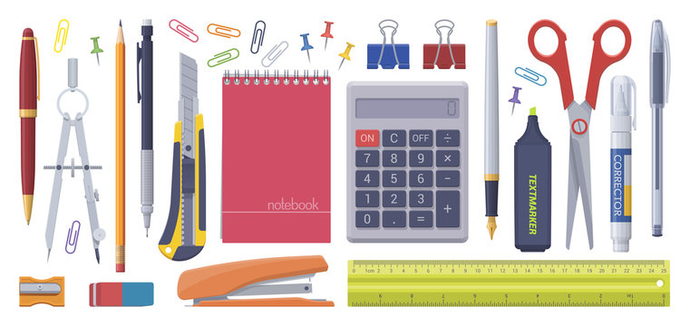 Stationery set. School business items. Vector flat isolated illustration