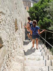 steep stairway of fortress of Bonifacio in Corsica Island