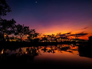 Foto auf Acrylglas Hochrote Take a photo on twilight time at Suan Luang Rama 9 Park.