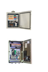 two electrical control Cabinet with an open door isolated on a white background
