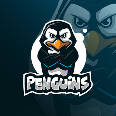 penguin mascot logo design vector with modern illustration concept style for badge, emblem and tshirt printing. angry penguins illustration.