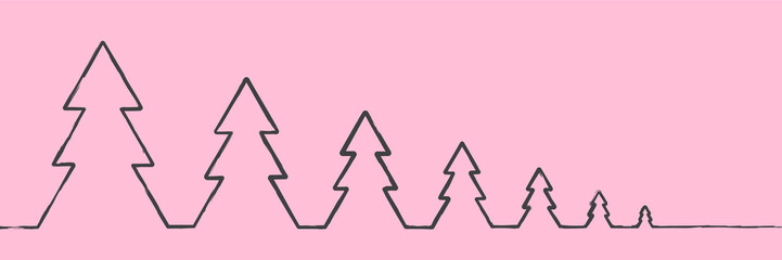 The gray outline of the Christmas tree trees is connected by one line from large to small on a pink background. New year minimalistic design for greeting cards, banners with place for text.