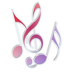 Musiknoten und Violinschlüssel vor weißem Hintergrund