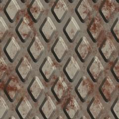 Rusted metal floor plate background. Seamless pattern. 3D Rendering.