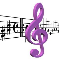 Notenschlüssel und Musiknoten vor weißem Hintergrund