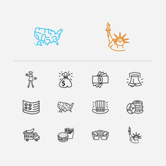 Country icons set. Usa flag and country icons with sack of dollars, donuts and liberty bell. Set of democratic for web app logo UI design.