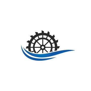 Water mill logo vector icon concept illustration design