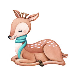 Cute little deer sitting, isolated on white background. Watercolor hand painted illustration for winter, Christmas, logos, nursery designs.