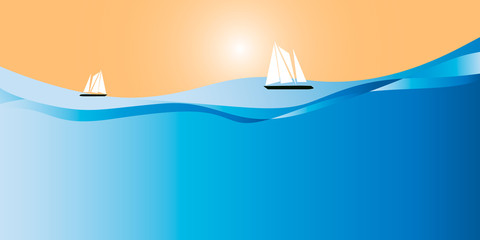 Yachts in the ocean on a clear sunny day. Simple flat design. Horizontal execution.