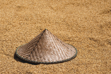 Tradition Asian conical hat and rice