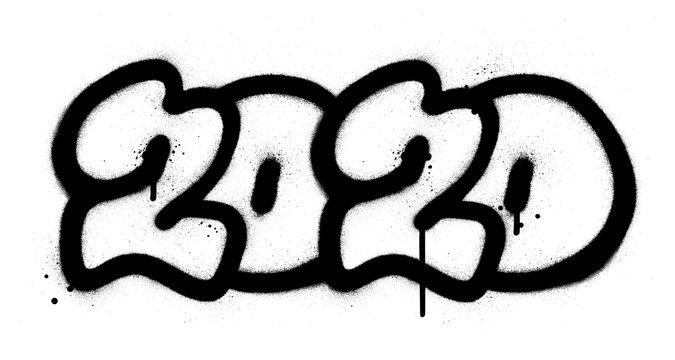 graffiti 2020 date sprayed in black over white