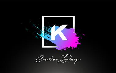 K Artistic Brush Letter Logo Design in Purple Blue Colors Vector