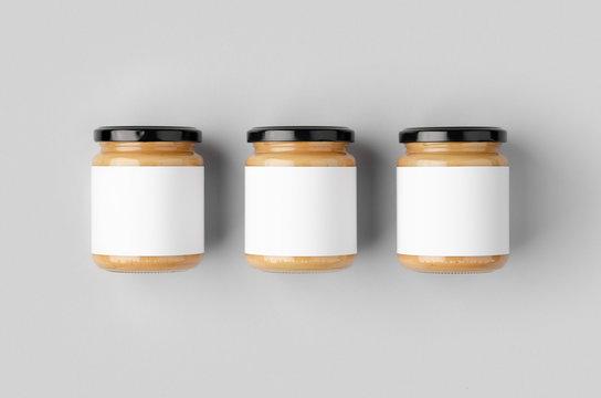 Peanut, almond, nut butter jar mockup with blank label. Three jars.