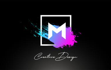 M Artistic Brush Letter Logo Design in Purple Blue Colors Vector