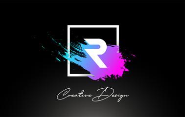 R Artistic Brush Letter Logo Design in Purple Blue Colors Vector