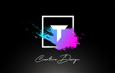 T Artistic Brush Letter Logo Design in Purple Blue Colors Vector