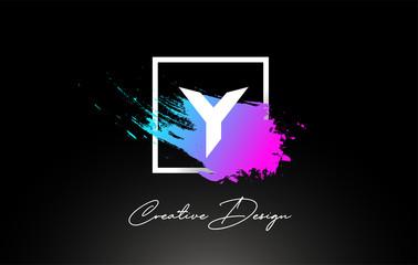 Y Artistic Brush Letter Logo Design in Purple Blue Colors Vector