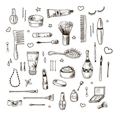 Beauty doodle set. Collection of hand drawn beauty, makeup and cosmetics icons and objects. Sketch design elements. Isolated vector illustrations on a white background