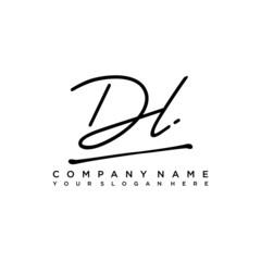Fototapeta DL initials signature logo. Handwriting logo vector templates. Hand drawn Calligraphy lettering Vector illustration. obraz
