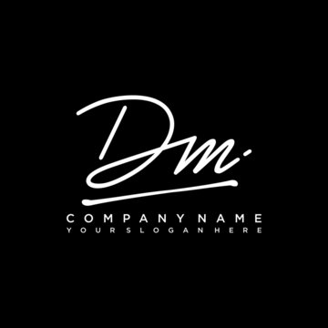 DM initials signature logo. Handwriting logo vector templates. Hand drawn Calligraphy lettering Vector illustration.